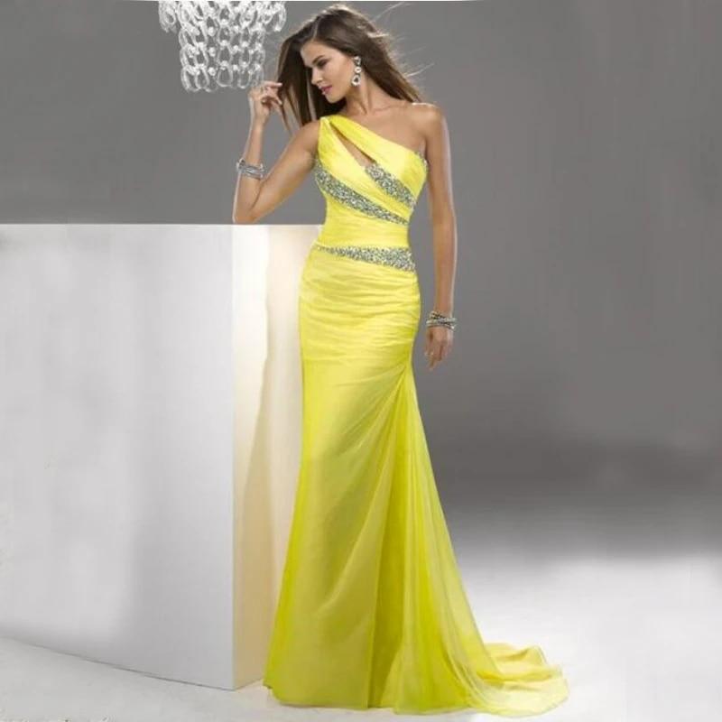 Yellow Chiffon One Shoulder Dress