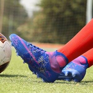Image 3 - 子供サッカーシューズサッカー男子高トップトレーニング Ag ソール屋外クリートサッカーシューズスパイク高足首男性アイゼンブーツ