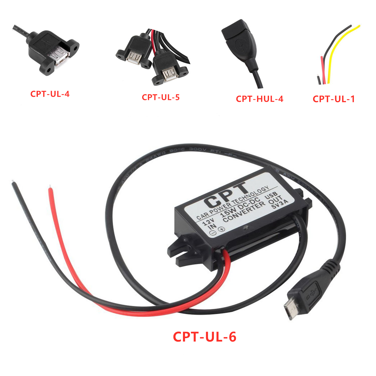 <font><b>5</b></font> Types Car Power Technology Charger DC Converter Module Single Port 12V To 5V 3A 15W with Micro USB Cable Dropshipping image