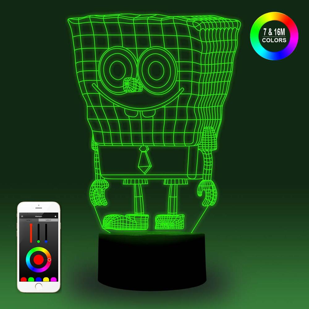 NiteApps 3D Sponge Bob Night Light Desk Table Illusion Lamp Holiday Birthday Gift APP/Touch Control