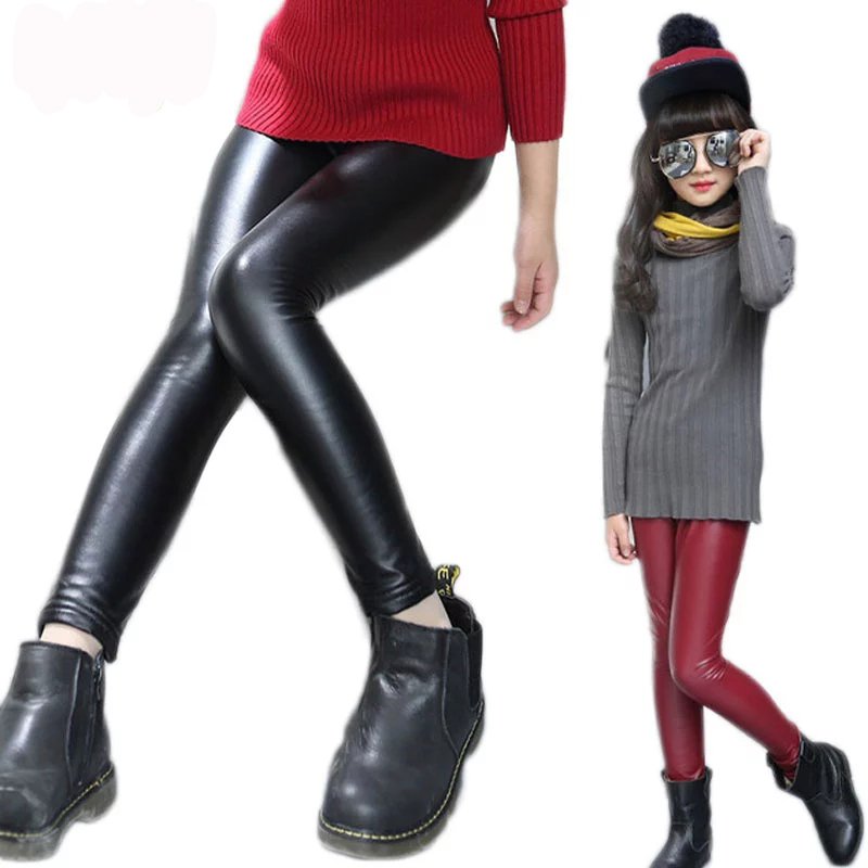Girls PU Leather Trousers