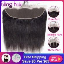 Bling saç brezilyalı düz saç 13x4 dantel Frontal kapatma % 100% Remy İnsan saç kapatma ücretsiz/orta/üç parçalı doğal renk