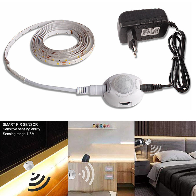 Kitchen Lighting 1M 2M 3M 4M 5M Led Strip 12V Motion Sensor Led Under Cabinet Light Bedroom Closet Wardrobe Lamp 220V Adapter