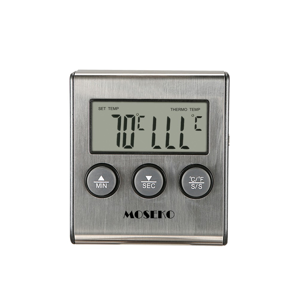Image 2 - MOSEKO Digital Kitchen Thermometer Oven Food Cooking Meat BBQ Probe Thermometer With Timer Milk Water Temperature Cooking Tools-in Temperature Gauges from Home & Garden