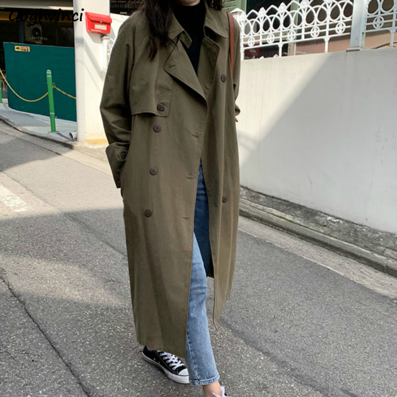 Trench Long Coat Women Spring Turn-down Collar Leisure Loose Solid Simple Korean Style Retro Outwear Chic All-match Streetwear