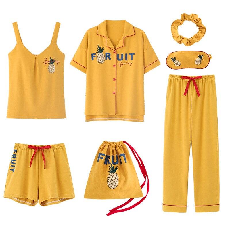 2020 summer Cotton Pajamas for Women 7 Pieces Set cotton Sleepwear Home Clothes Female v neck Shorts Pants  sexi sleep wearPajama Sets   -