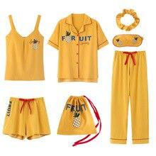 2020 summer Cotton Pajamas for Women 7 Pieces Set cotton Sleepwear Home Clothes Female v neck Shorts Pants  sexi sleep wear