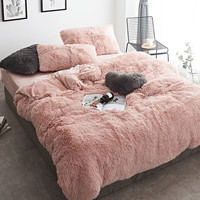 Home Textile Pink Fleece Fabric Winter Thick Pure Color Bedding Set Mink Velvet Duvet Cover Bed sheet Bed Linen Pillowcases 4pcs