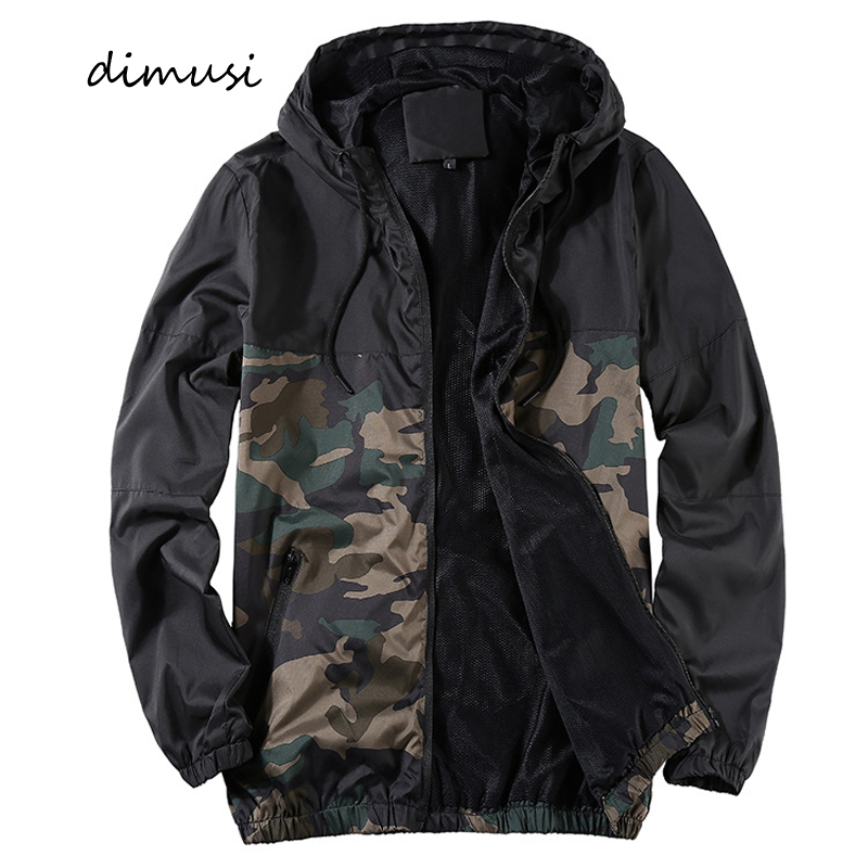DIMUSI Autumn Mens Jackets Casual Men Outwear Slim Camouflage Windbreaker Hooded Coats Mens Fashion Streetwear Baseball Jackets