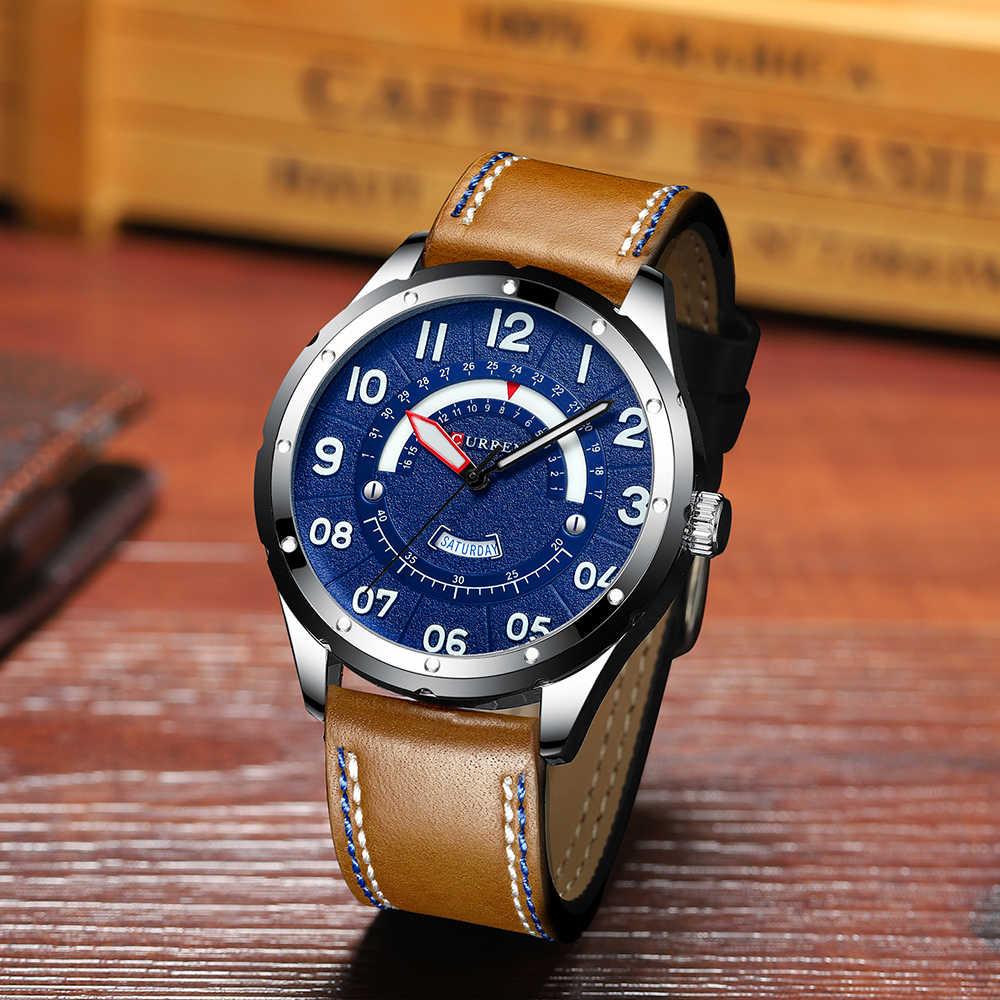 Reloj de pulsera CURREN para hombre, reloj de lujo de marca, Relojes de Cuero casuales a la moda para hombre, reloj negro para hombre