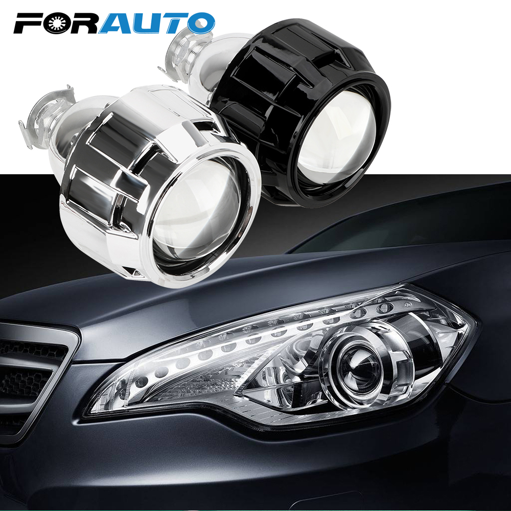 FORAUTO Xenon HID Projector <font><b>Lens</b></font> 2.5 Inch Silver Black Shell For H1 Xenon <font><b>LED</b></font> Bulb H4 <font><b>H7</b></font> Motorcycle Car <font><b>Headlight</b></font> Accessories image