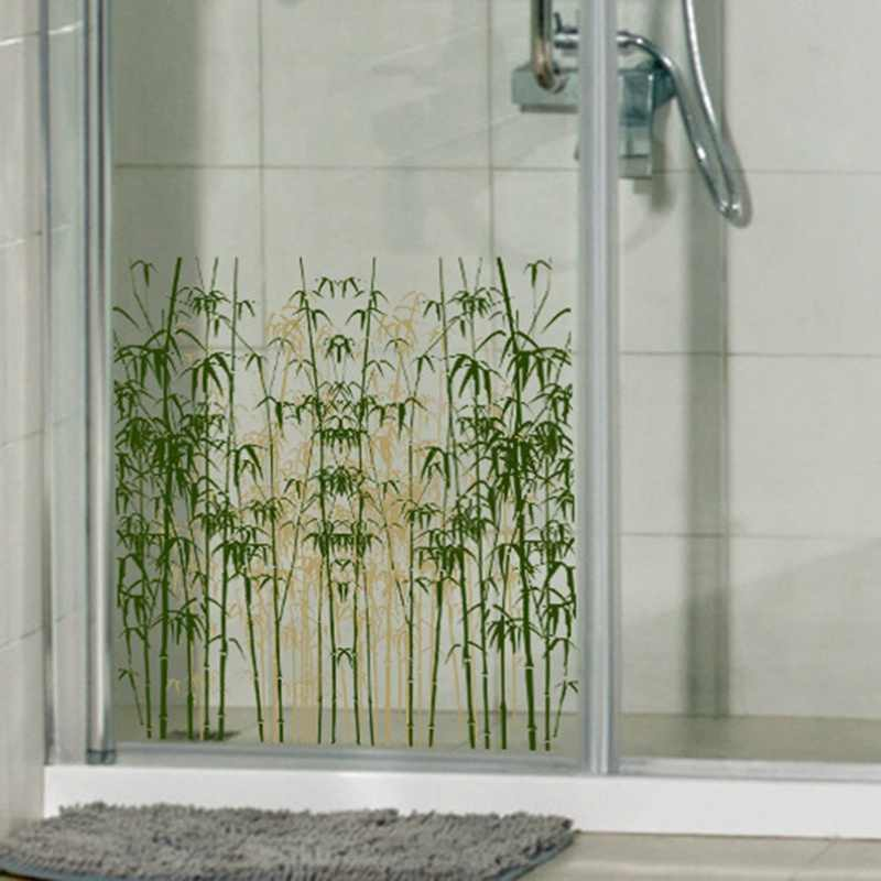 decorative glass bathroom windows new grinded glass paste pvc translucent back bamboo forest pattern  new grinded glass paste pvc translucent