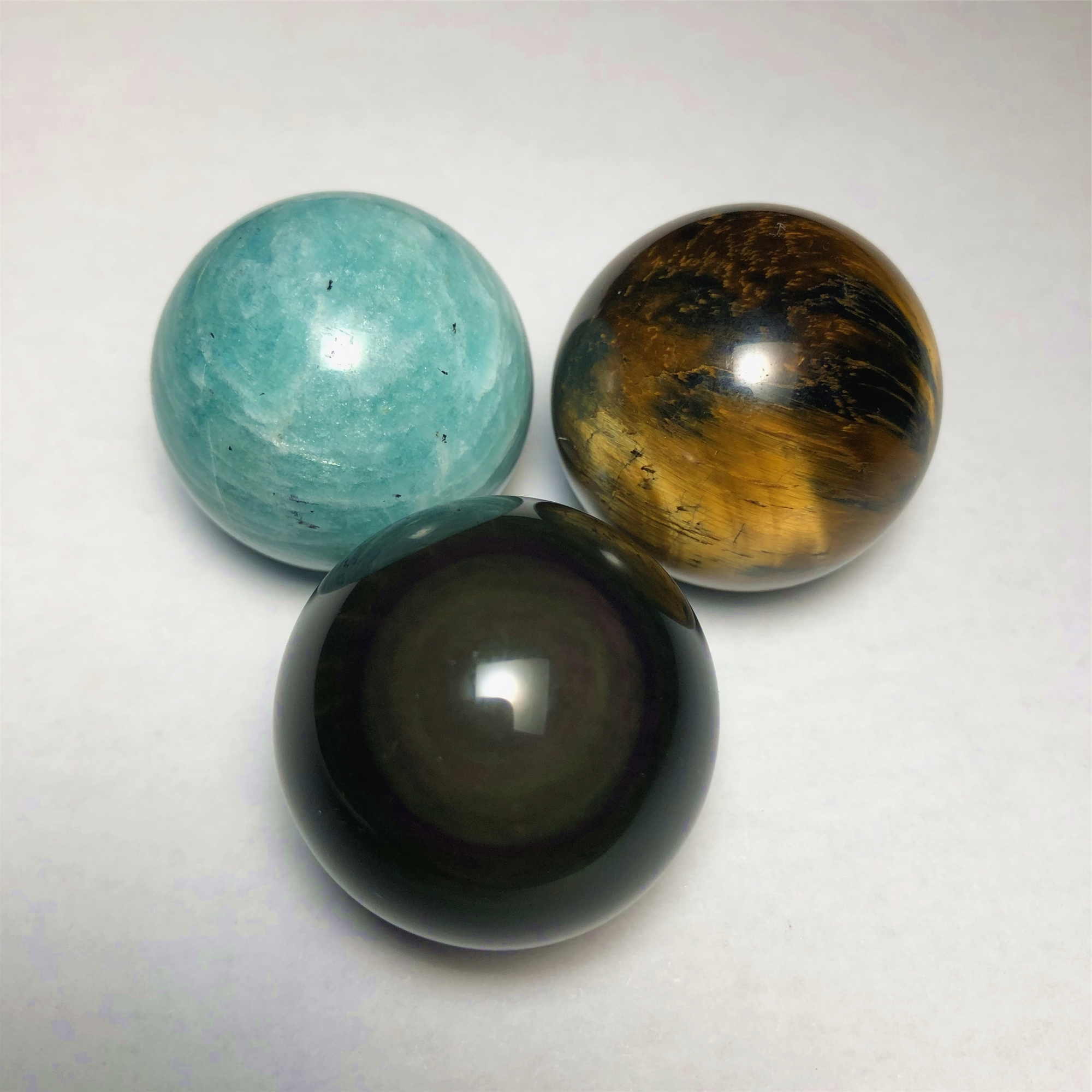 Natural Cat Eye Obsidian 3pc A Set Flash Stone Rainbow 30mm Ball Tiger Eye Quartz Amazonite Sphere Healing Stone Wicca Crystals