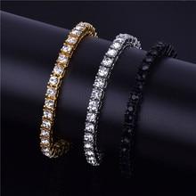 Hip hop Bling Iced Out Cubic Zirconia Bracelet Tennis Chain Bracelets Women Men 1 Row CZ Link Jewelry Gold Silver Black