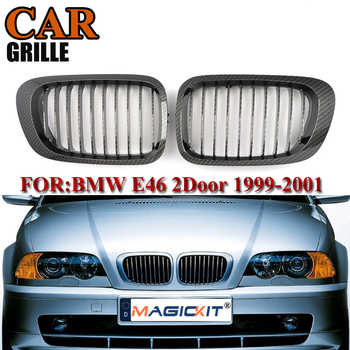 MagicKit Carbon Fiber Look Colors Set Racing Grille Fits For BMW 3 Series E46 1999-2001 Kidney Grille Car Front Center Grills