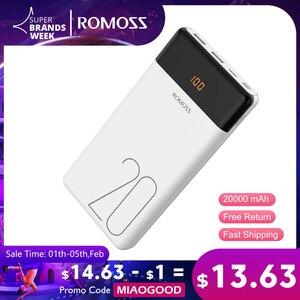 20000 мАч ROMOSS LT20 внешний аккумулятор Dual USB Внешний аккумулятор со светодиодным дисплеем быстрое портативное зарядное устройство для Xiaomi для ...