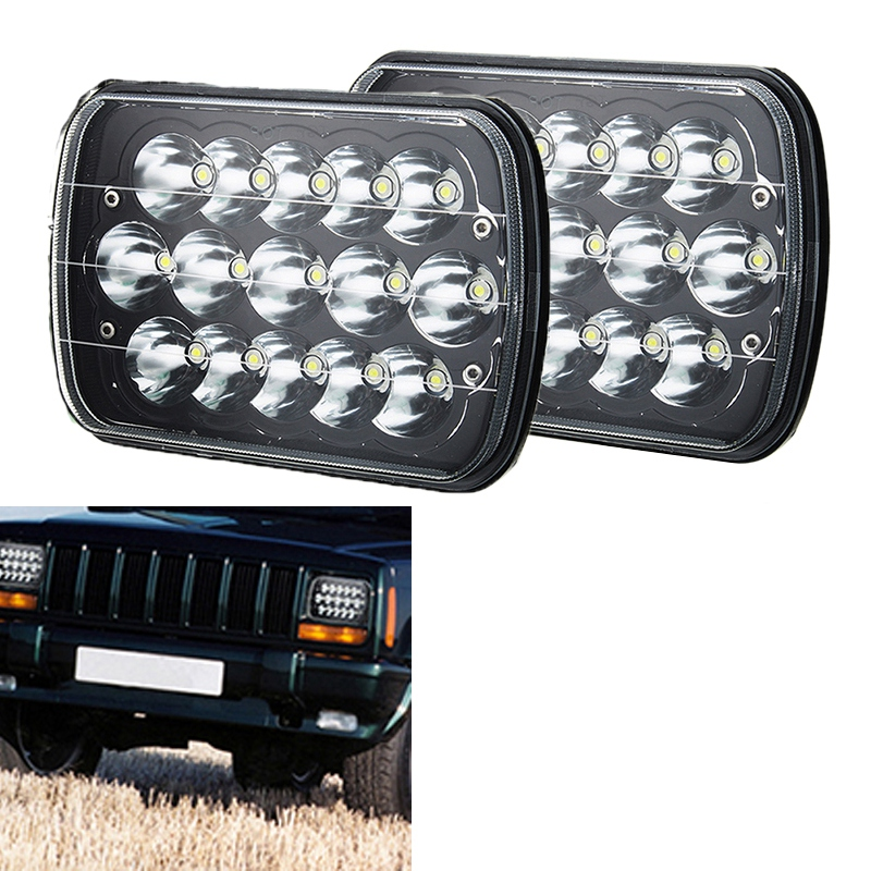 7 x 6 45W 15-LED replacement Sealed Beam Black Housing Headlight H6052 H6054 H6014