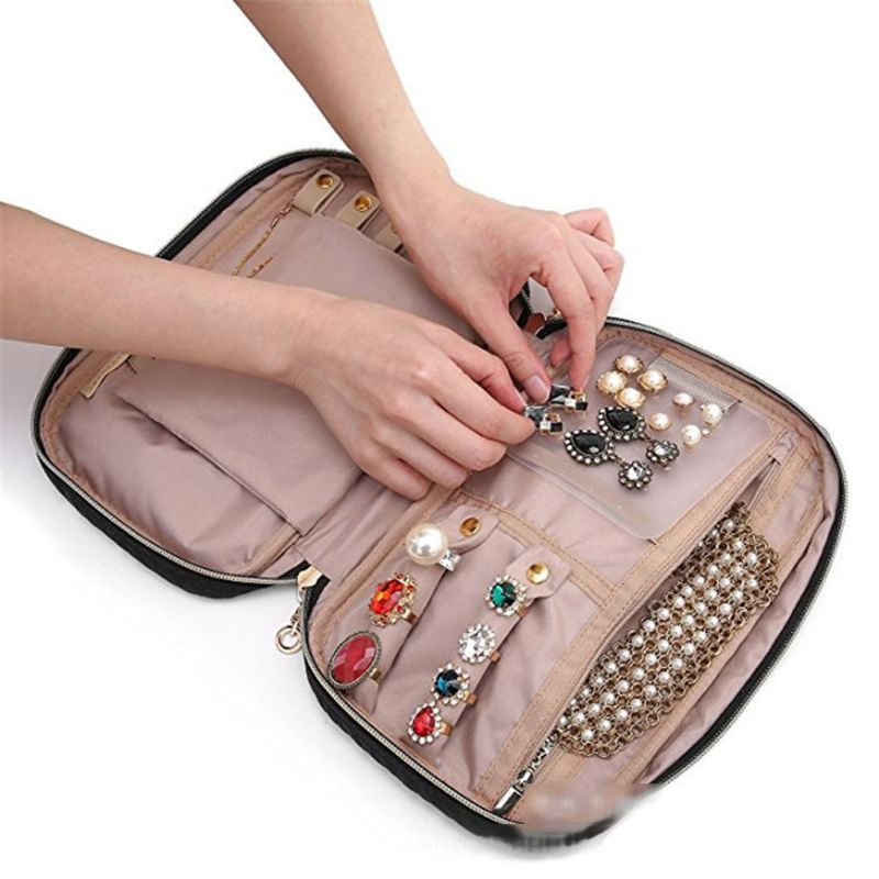 Travel Portable Travel Jewelry Organizer Case Storage Box for <font><b>Necklace</b></font> <font><b>Earrings</b></font> <font><b>Rings</b></font> <font><b>Bracelets</b></font> image