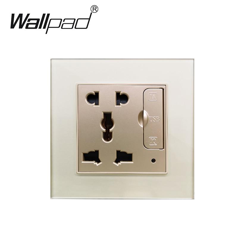 5 Pin Universal Power Socket Glass Panel Wallpad 3.1A 2 X USB Charging Port Universal Socket EU UK US BS Wall Outlet 86mm * 86mm