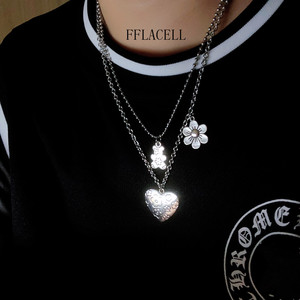 FFLACELL Fashion New Same Street Hip Hop Stainless Steel Punk Smiley Sad Pendant Chain Harajuku Necklace For Women Men Jewelry(China)