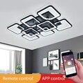 Светодиодная Люстра для гостиной, столовой, кухни, спальни, дома, черная прямоугольная комнатная Современная потолочная лампа, осветительн...