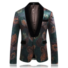 Kołnierz kontrastowy czarny garnitur z nadrukiem kurtki 2020 wiosenna dopasowana męska marynarka moda męska jeden guzik ślub blezer na imprezę kurtka Plus 6XL tanie tanio Poliester REGULAR Jednego przycisku Pełna Anglia styl L826
