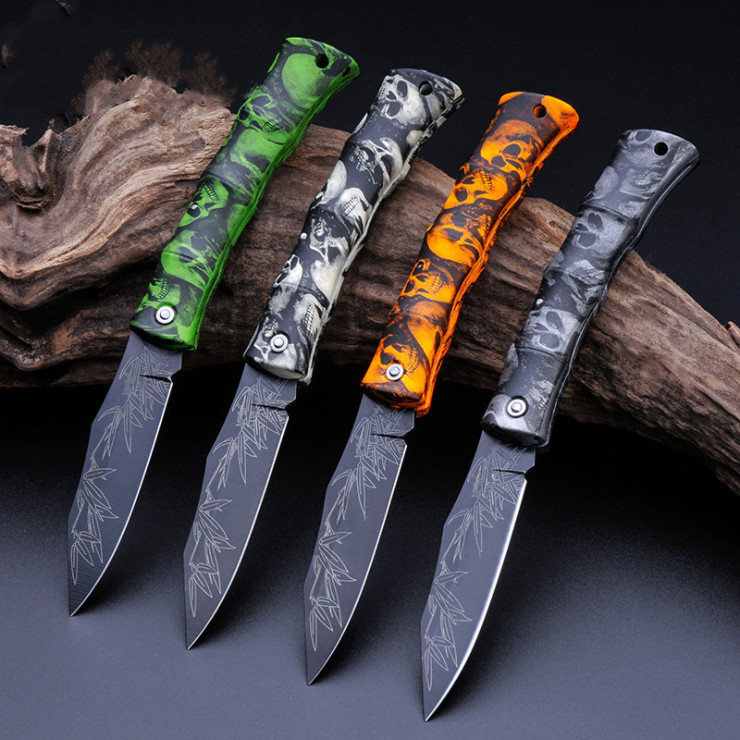 Folding Knife Key Ring Chain Fruit Camping Outdoor Survival EDC Pocket Stainless ABS Skull Pare Cutter Razor Open