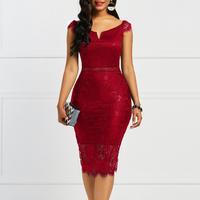 Женское винтажное кружевное платье с V-образным вырезом