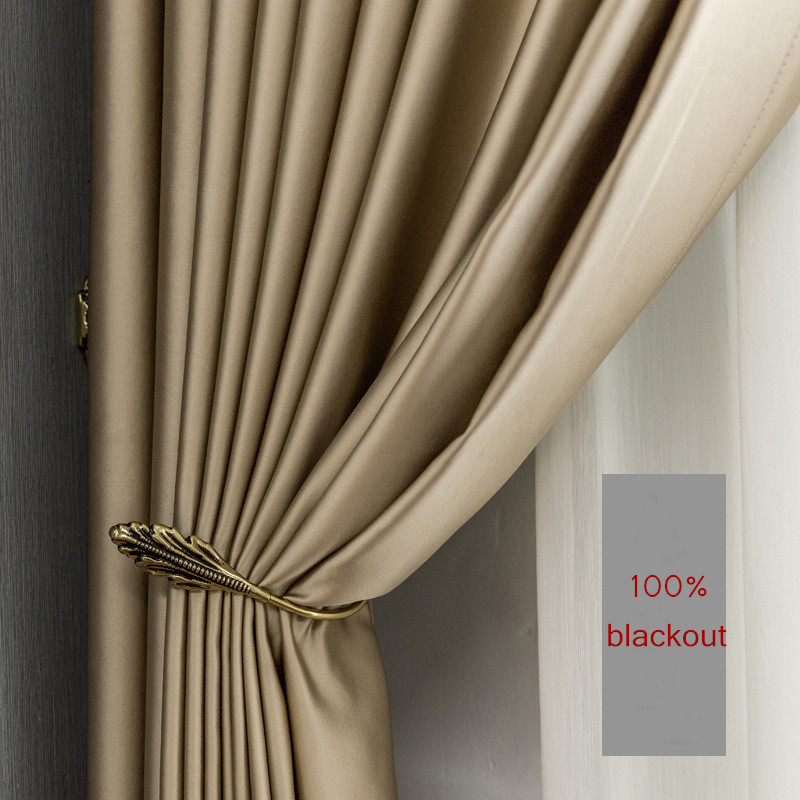 Gold silk Blackout ready curtains Thermal Insulated for Living Room bedroom luxury thick solid curtain window treatment