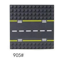 Duploes cidade estrada rua base placa 19*19cm curva reta blocos de construção grande partícula tijolos placa base sólida para o brinquedo do bebê