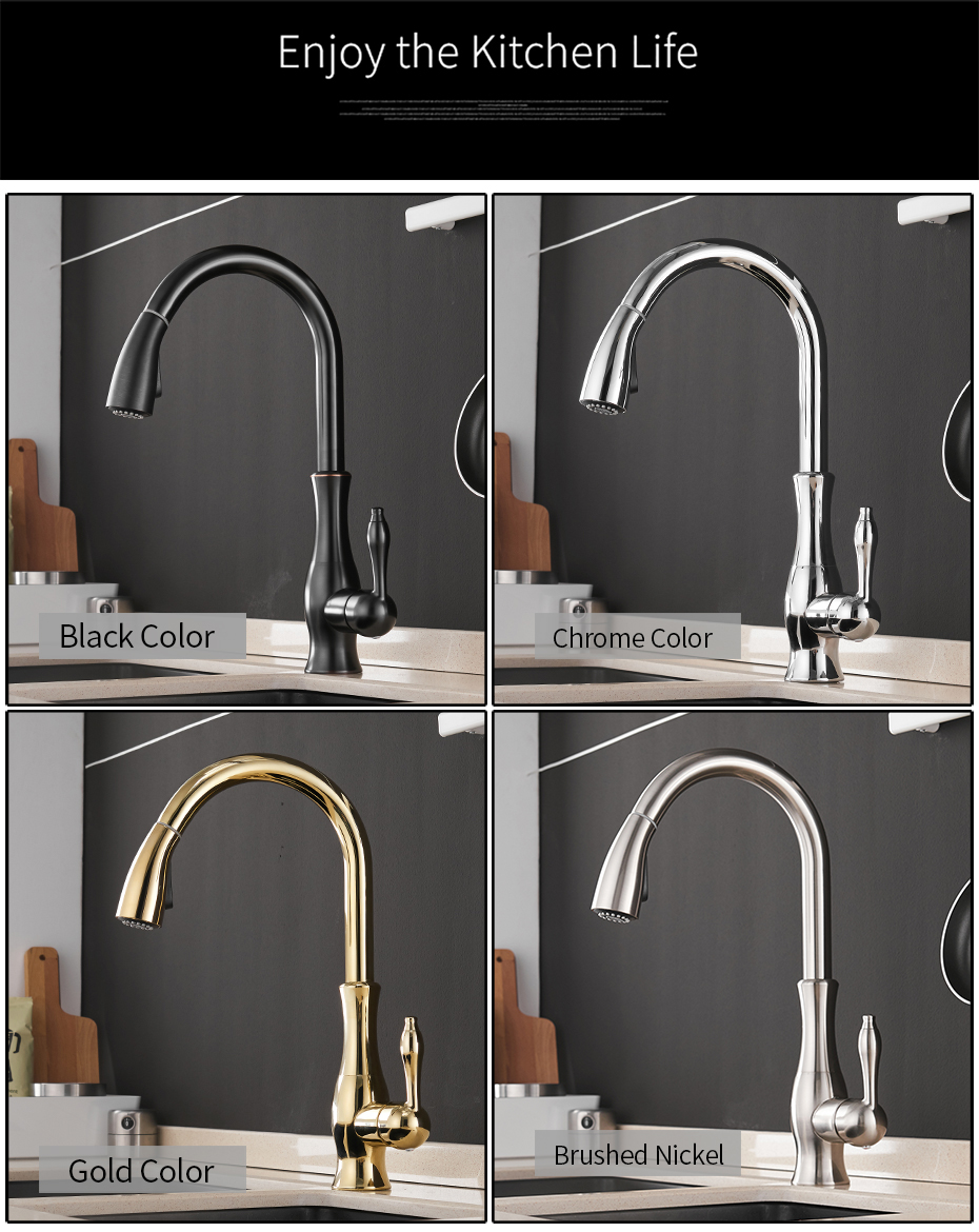 Hdd072594b60f4de785de0a782f7dc2f1E Gold Kitchen Faucets Silver Single Handle Pull Out Kitchen Tap Single Hole Handle Swivel Degree Water Mixer Tap Mixer Tap 866011