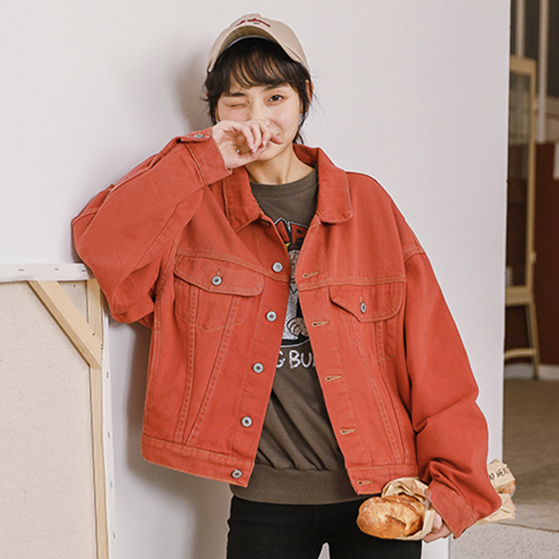 Bella philosophy autumn women fashion solid   basic     jacket   denim ladies Loose Coats streatwear Turn-down Collar female Jean   Jacket