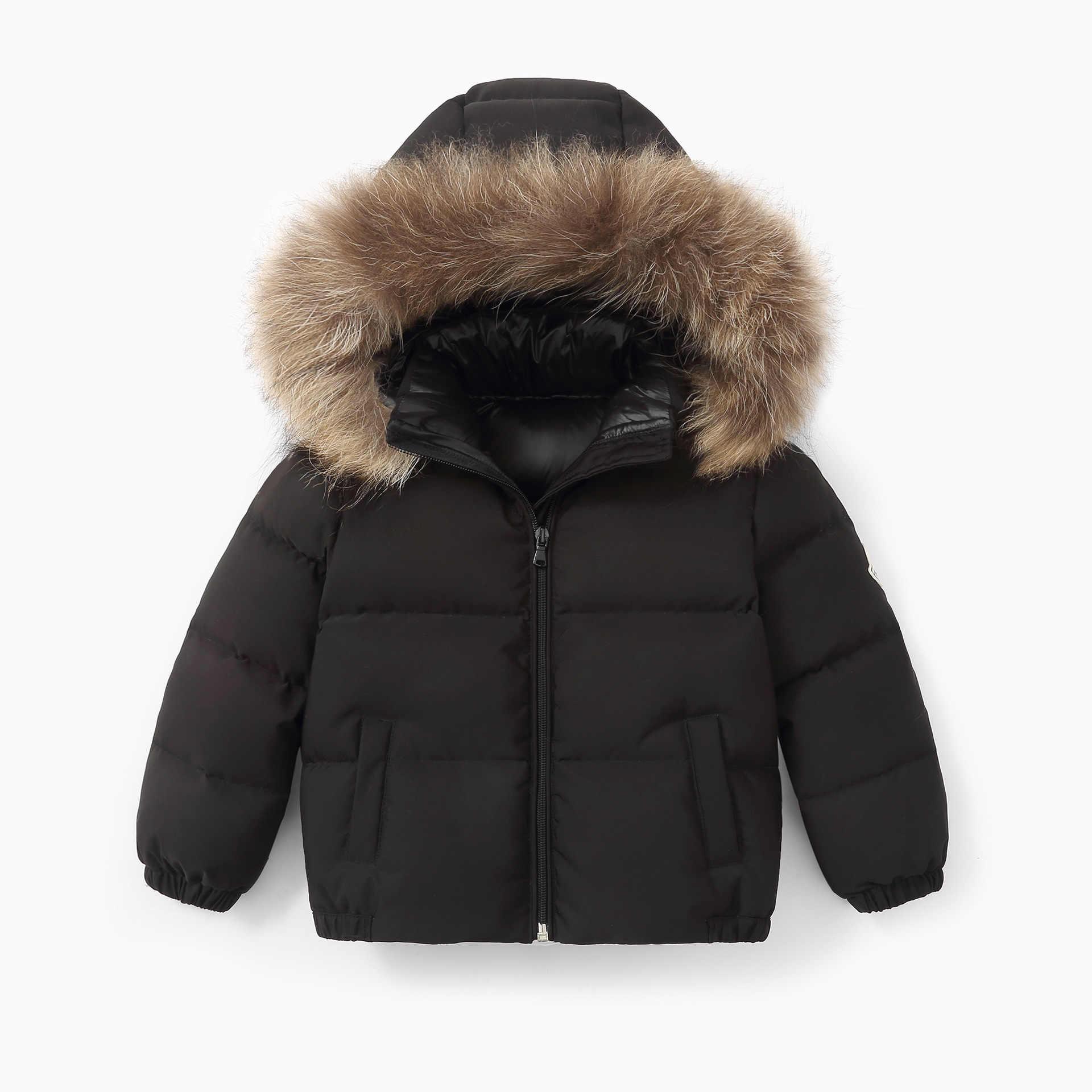 Jaqueta de crianças Para Baixo 2019 Casaco Grosso Crianças Do Bebê Das Meninas Dos Meninos Com Capuz De Pele Real Pato Branco Quente Para Baixo Outwear Roupas