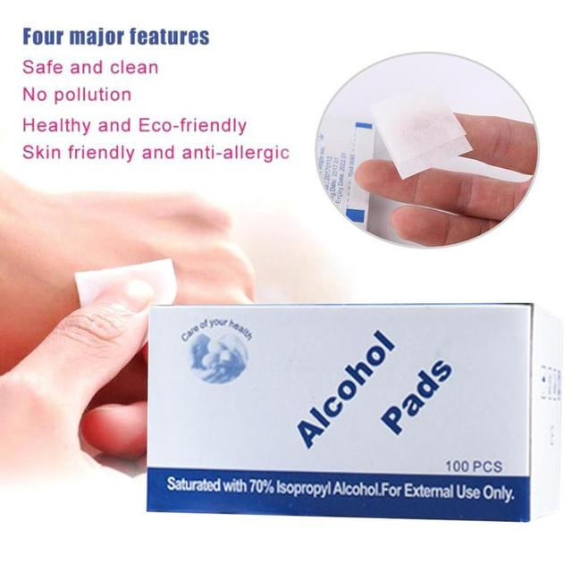 100pcs/lot Disposable Alcohol Prep Swap Pad Wet Wipe for Antiseptic Skin Cleaning Care Jewelry Mobile Phone Clean
