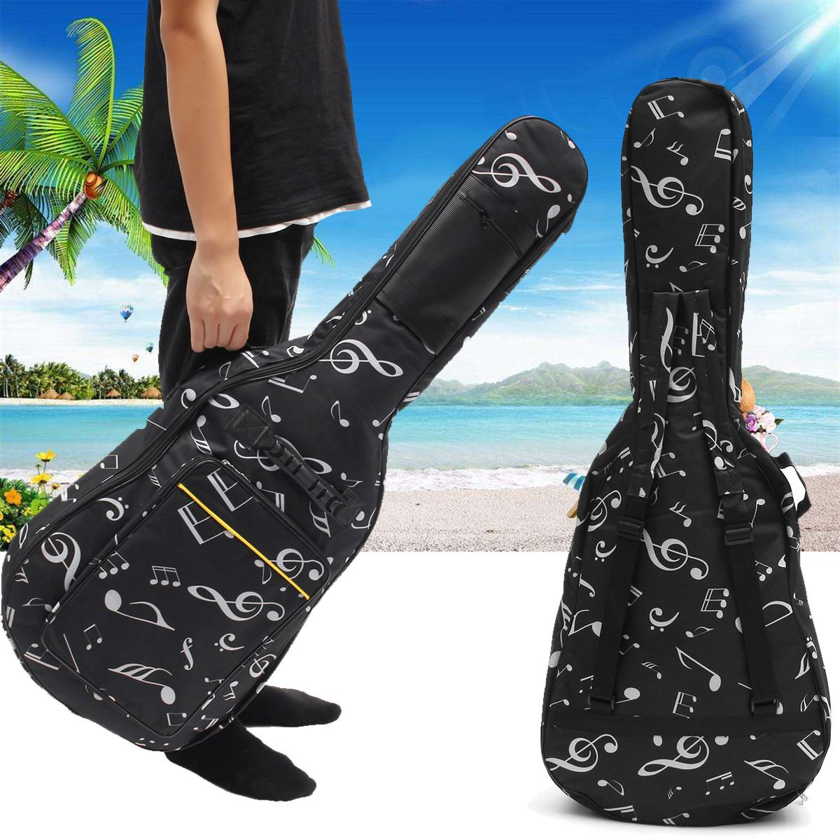 Waterproof <font><b>Guitar</b></font> Bag Double Straps Padded With Musical Notes Soft <font><b>Case</b></font> for 39 / <font><b>40</b></font> / 41 Inch <font><b>Guitar</b></font> Gig Bag image