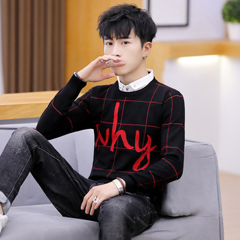 2020 Men's Fake Two-Piece Sweater Youth Shirt Collar Long-Sleeved Pullover Casual Sweater