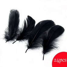 Top Quality 24pcs Black Color Goose Feathers for Crafts Jewelry Making 13-18cm DIY Natural Feather Home Party Decoration Plumas