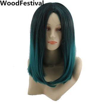 WoodFestival Heat Resistant Synthetic Hair Wigs for Women straight Short Cosplay Wig bob Ombre Black Gradient color blue Green woodfestival 20inch women wigs hair heat resistant black to navy blue curly synthetic wig cosplay