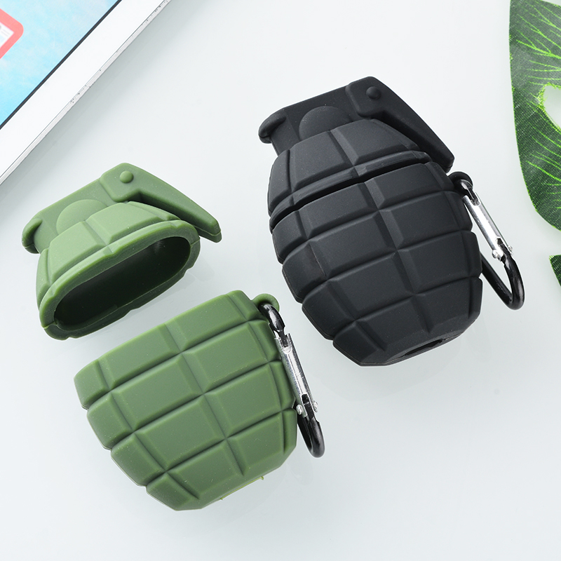Silicone Grenade Design Full Protective Case For Apple Airpods Earphones Cover For Apple Airpods Accessories Black Green