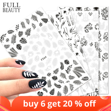 1Pcs Stickers Voor Nagels Ontwerpen Wit Zwart Bloem Blad Lineaire Manicure Sliders 3D Nail Art Decorations Sticker Decal CHF564 573