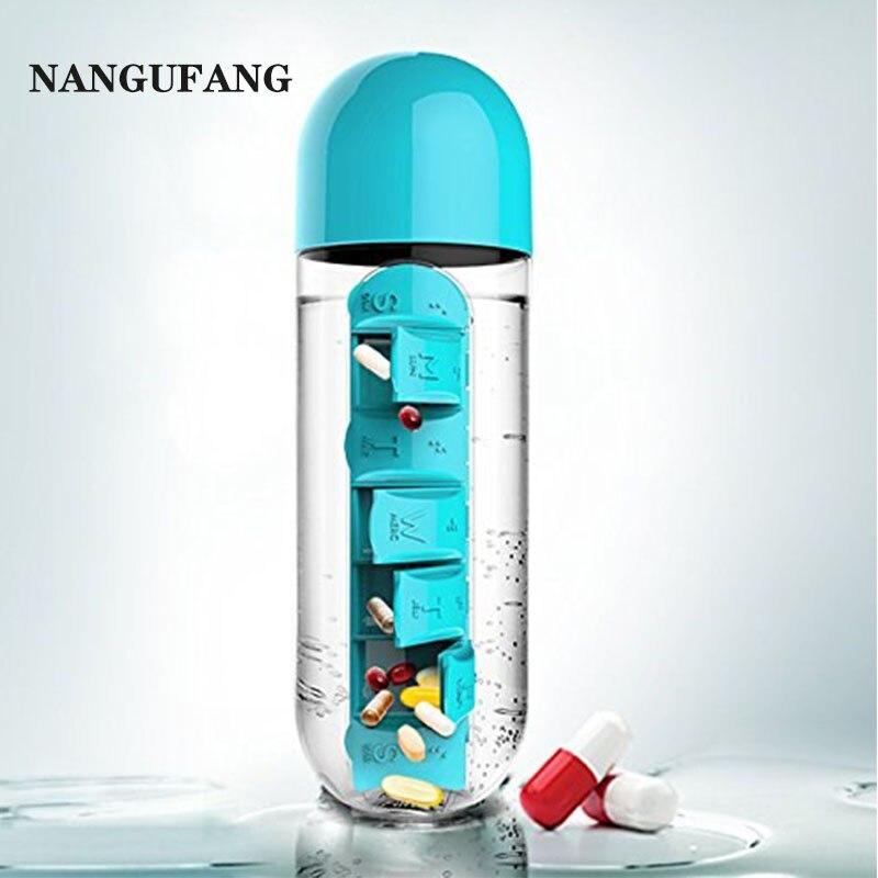 NANGUFANG/Pill box water bottle outdoor sports plastic water bottle 600ml Portable travel fitness yoga camping water bottles mug