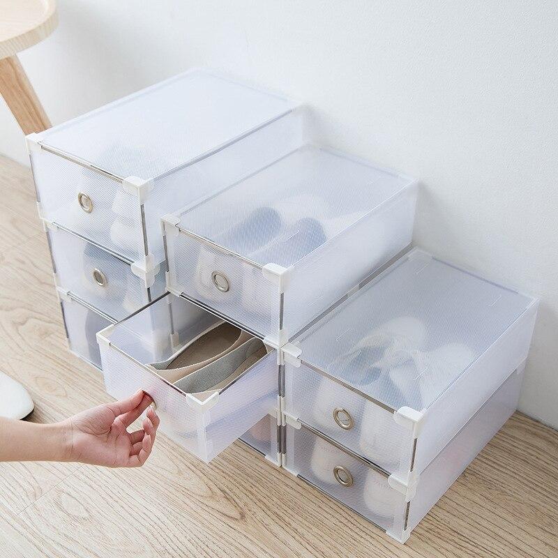 12pcs/set Simple Shoe Storage Box Translucent Plastic Rectangle Thickened Drawer Multifunction Dust-proof Sundries Organizer