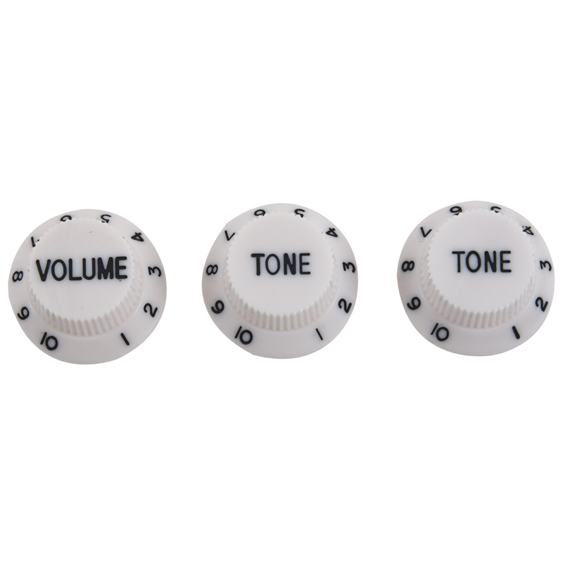 White Black 1 Volume&2 Tone Guitar Control Knobs For Strat Style Guitar