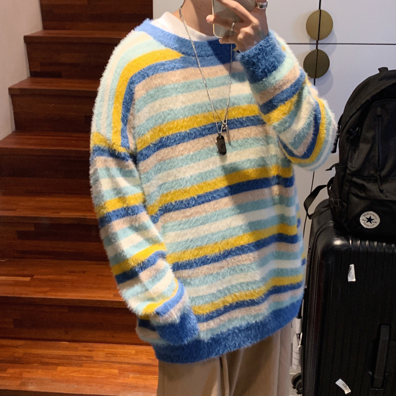 Winter Thick Sweater Men's Warm Fashion Contrast Color O-neck Knit Pullover Men Loose Striped Sweaters Male Sweter Clothes