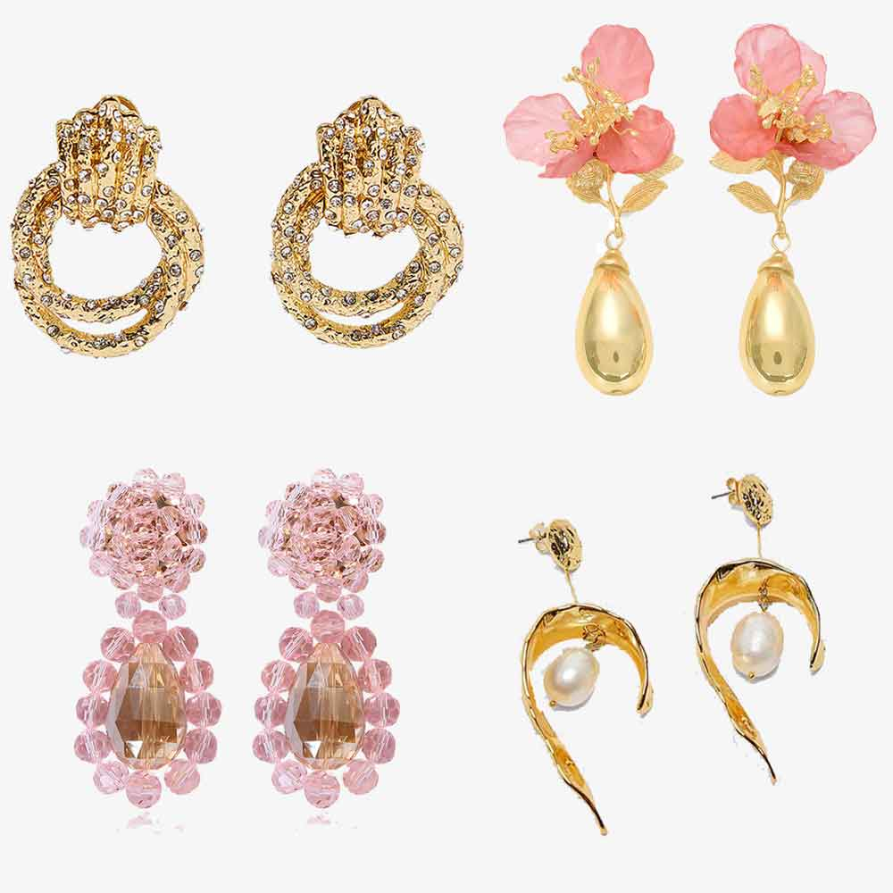 JUJIA ZA Gold Color Drop Earrings Girl Gift Handmade Simulated Pearls Women Wedding Boho Statement Party Earring Accessories