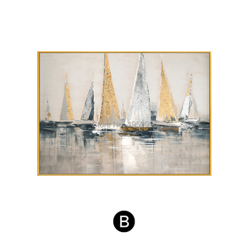 Boat City Building 100% Handpainted Chinese Style Best SELL Wall Art Abstract Oil Painting Picture On Canvas For Home Decoration