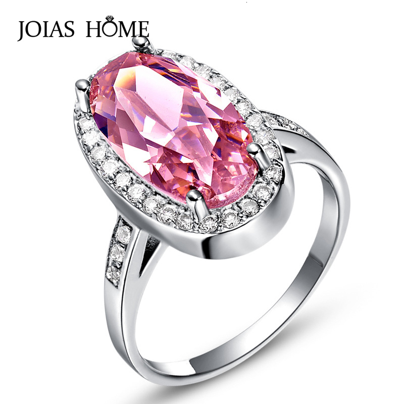 JoiasHome 925 Silver Ring For Women With Pink Oval Gemstones Silver 925 Jewelry Female Finger Ring Wholesale Anniversary Gift