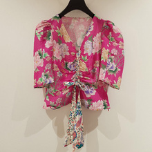 V-neck ruched printed women shirt 2020 spring summer new lace-up puff sleeve