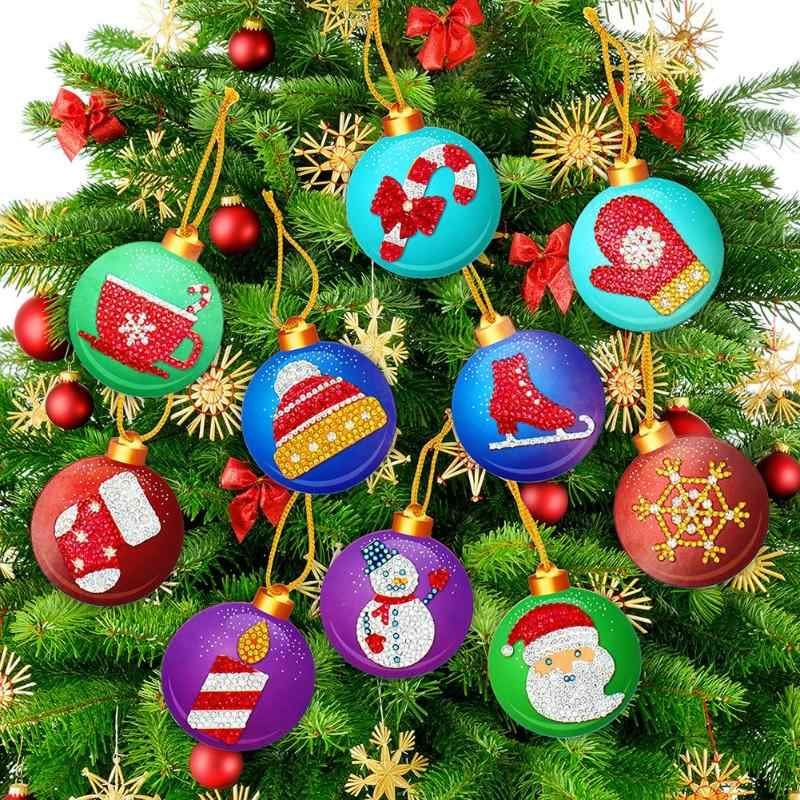 10pcs DIY Diamond Painting Merry Christmas Xmas Tree Hanging Pendant Ornament Christmas Decoration Natal Navided