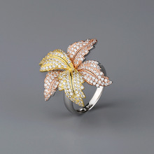 CMajor S925 Sterling Silver Jewelry European and American Style Temperament Original Luxurious Flower Shape 7A CZ Ring for Women